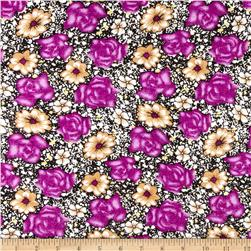 Rayon Challis Floral Purple/Green