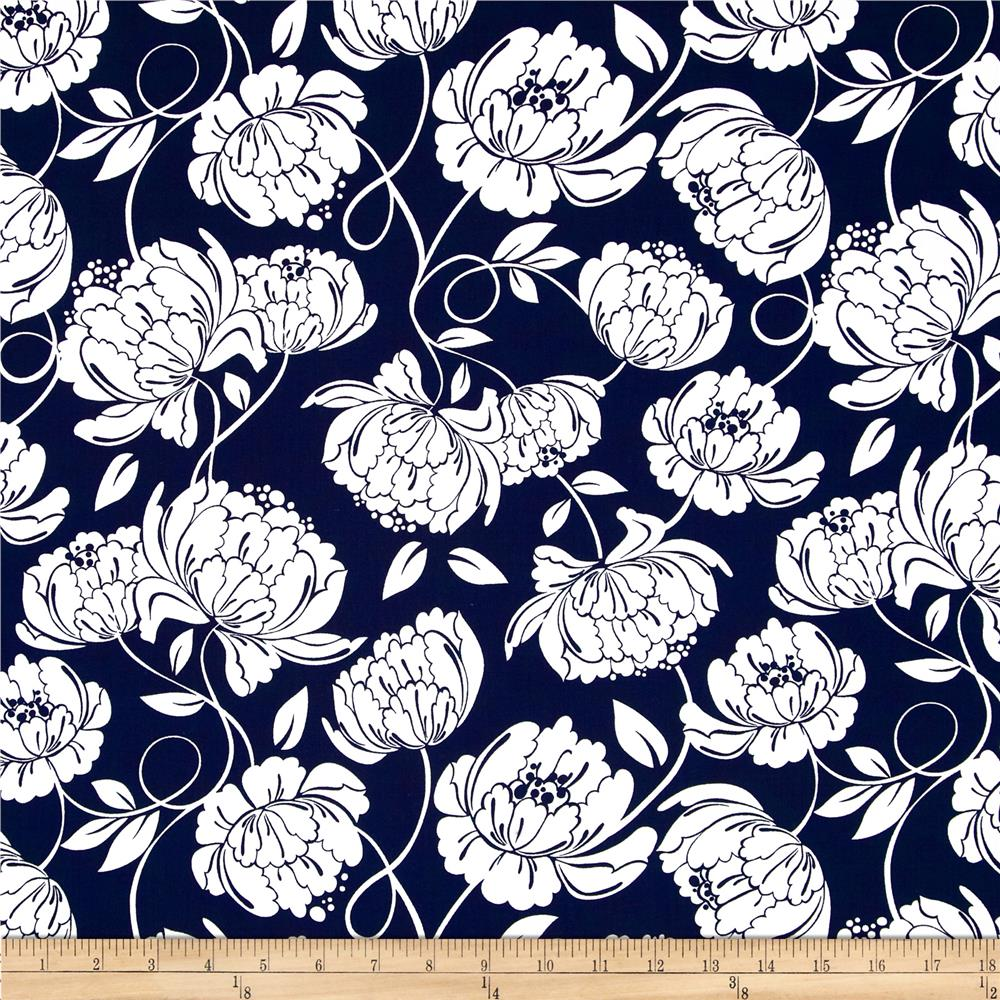 Timeless Treasures Midsummer's Eve Monotone Floral Swirl Navy