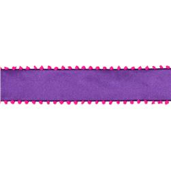 "1 1/2"" Pom-Pom Edge Wired Ribbon Purple/Pink"