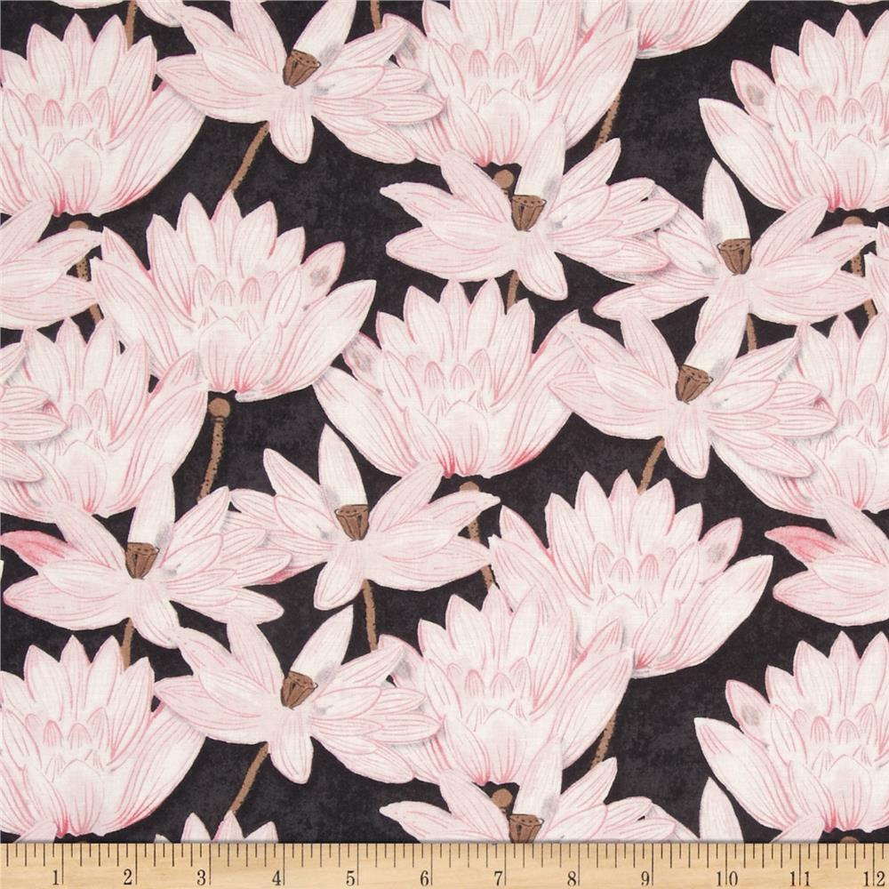 Hanami Falls Lotus Blossoms Black/Pink