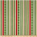Christmas Carols Metallics Stripe Ivory