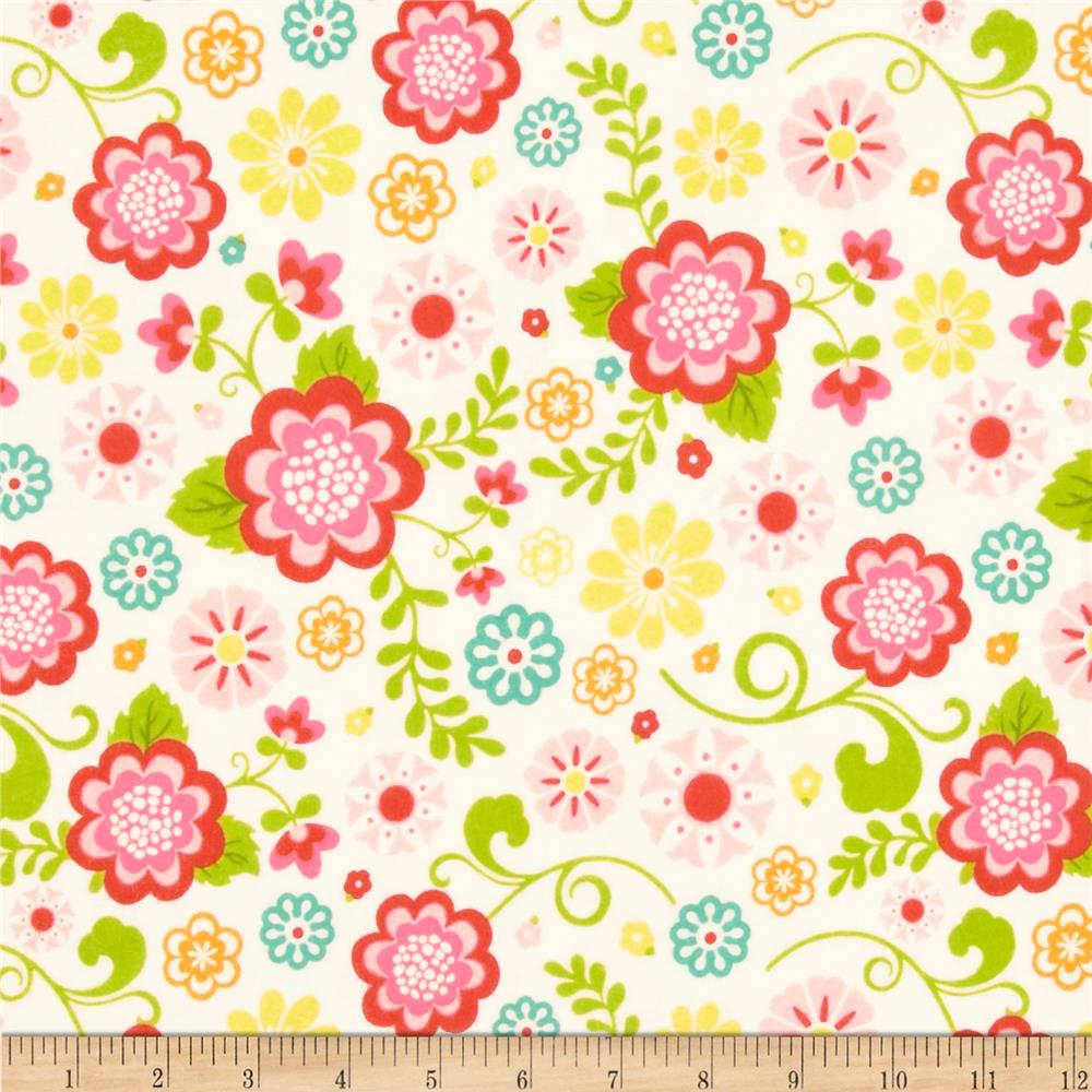 Riley Blake Fancy Free Flannel Large Floral White