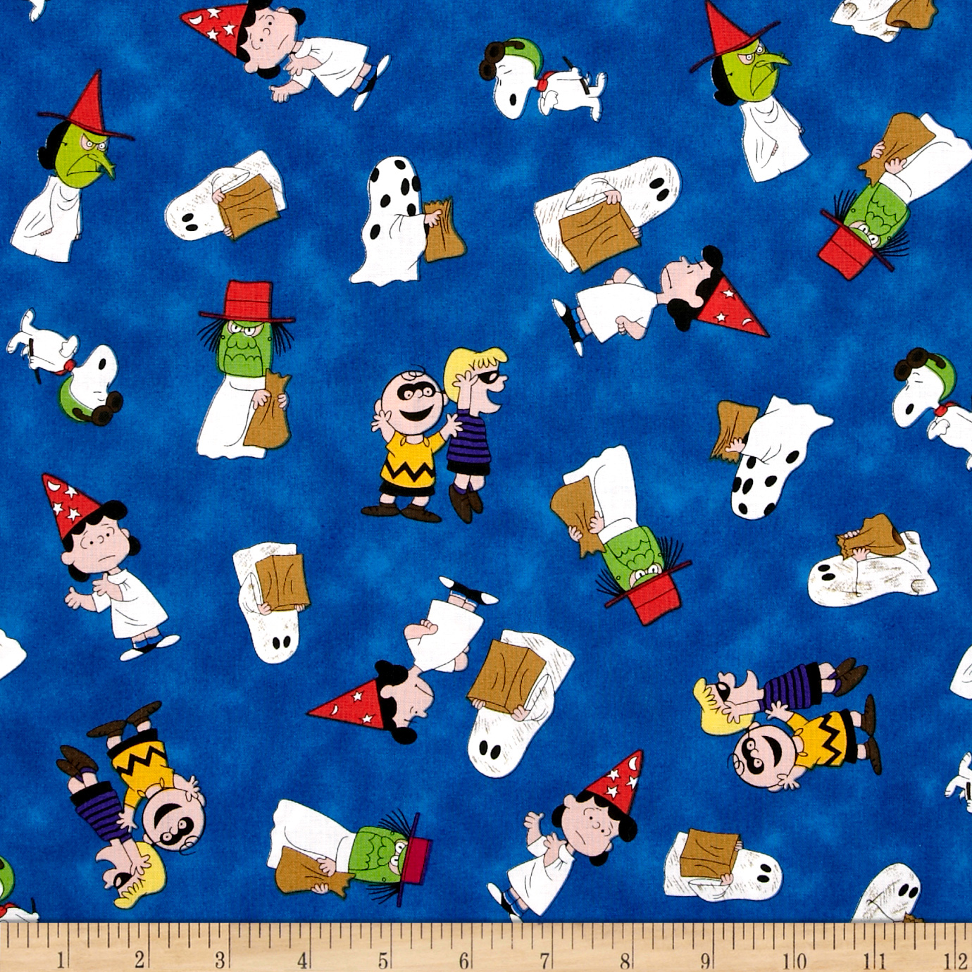 Peanuts Welcome Great Pumpkin Character Toss Royal Fabric
