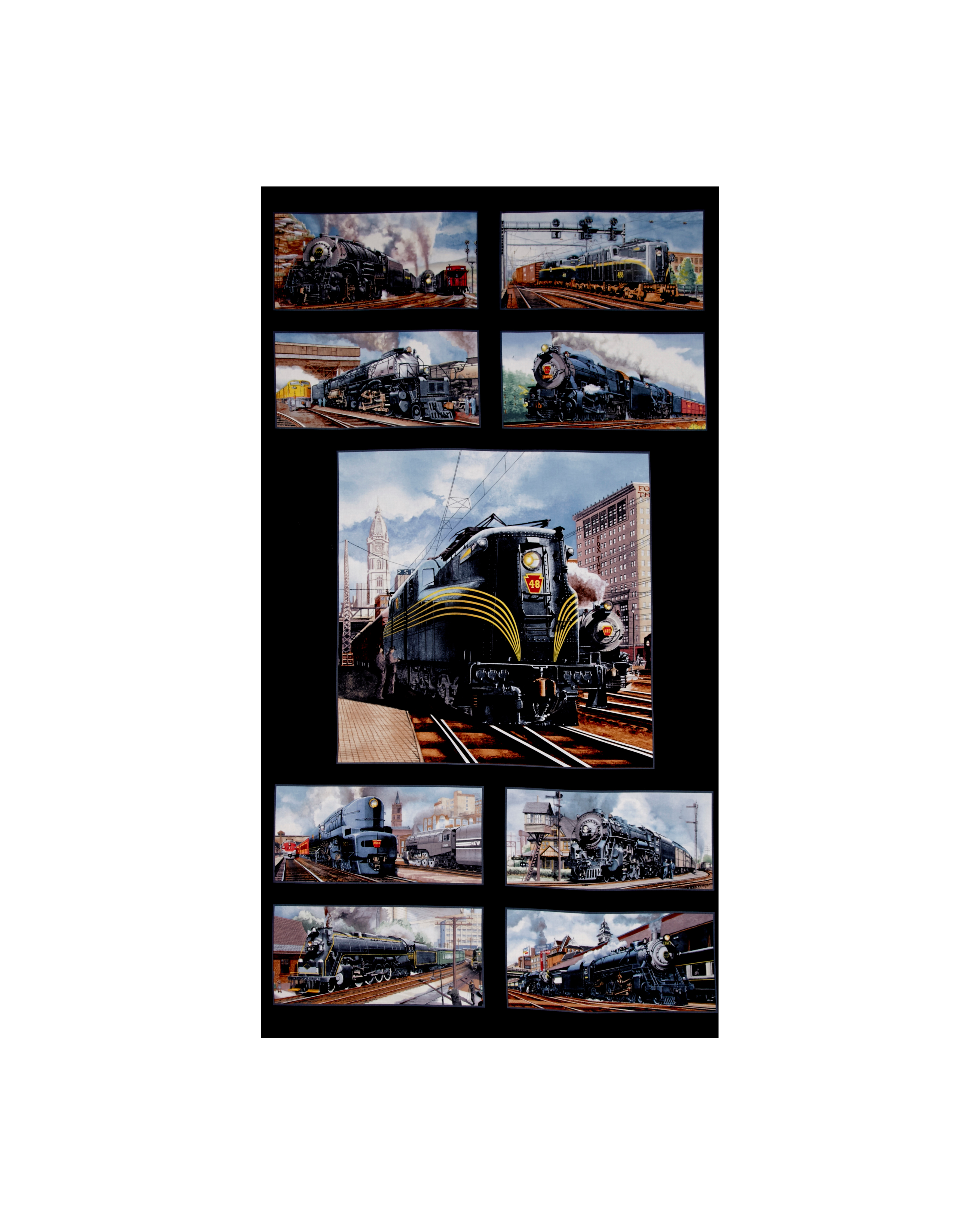 Image of All Aboard Trains 24 In. Panel Black Fabric