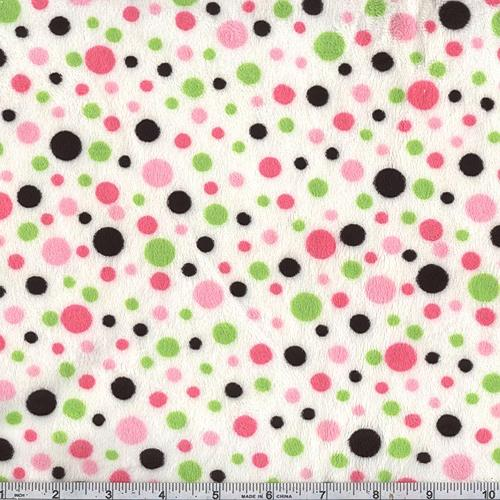 Minky Cuddle Dot Pink/Lime