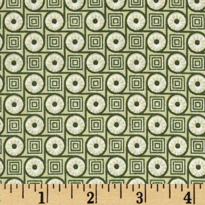 Geo Circles & Squares Leaf Green