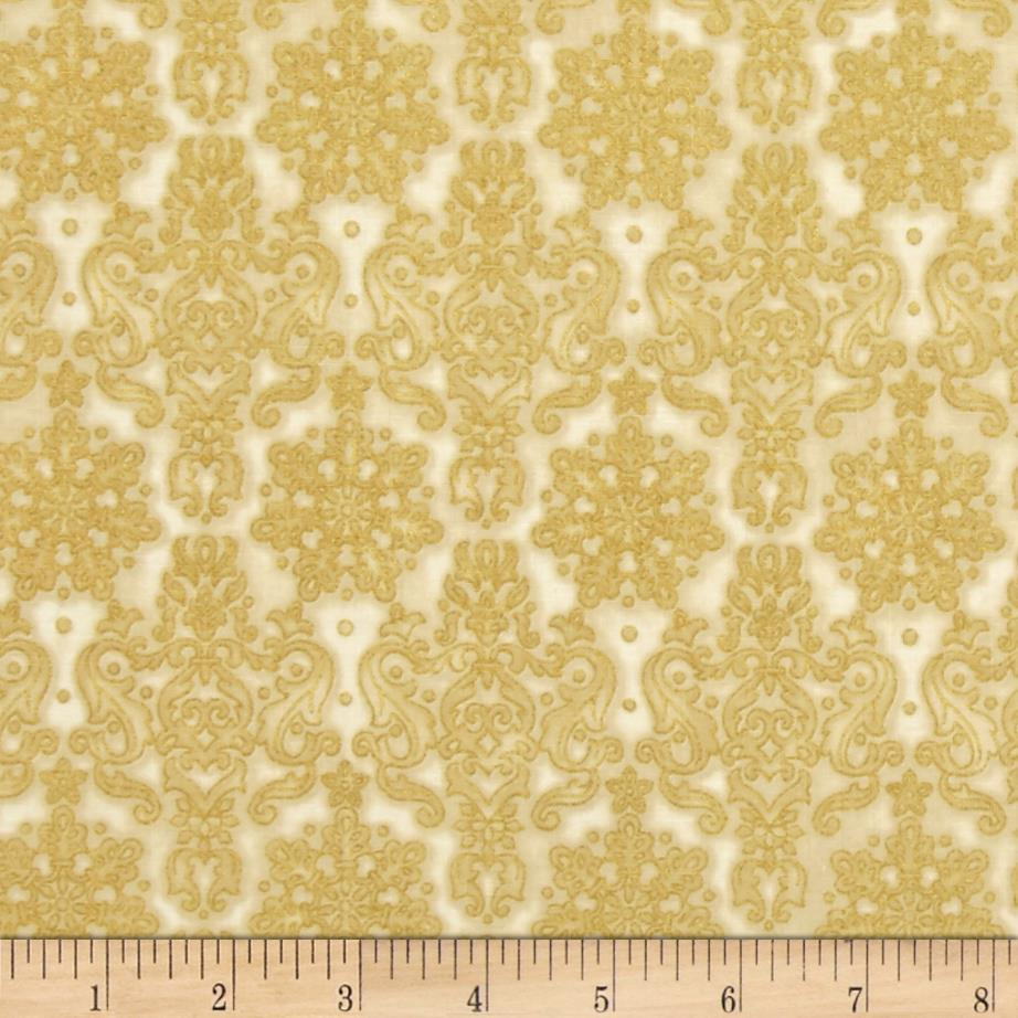 Kaufman Winter's Grandeur 4 Metallics Damask Natural