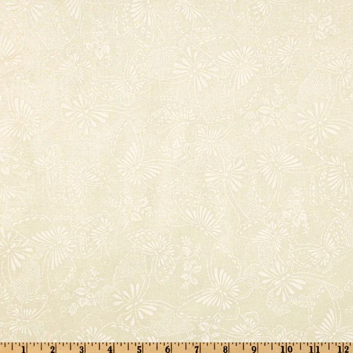 "110"" Wide Quilt Backing Butterfly Ivory/White"