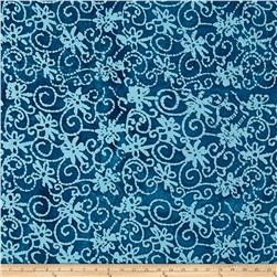 Indian Batik Moody Blues Floral Scroll Blue/Green