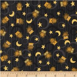 Scaredy Cats Owls Over The Moon Black Fabric