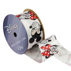 "1 1/2"" Minnie Mouse Ribbon With Mickey White"