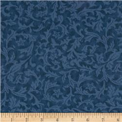 "110"" Wide Quilt Back Flannel Leaf Denim"