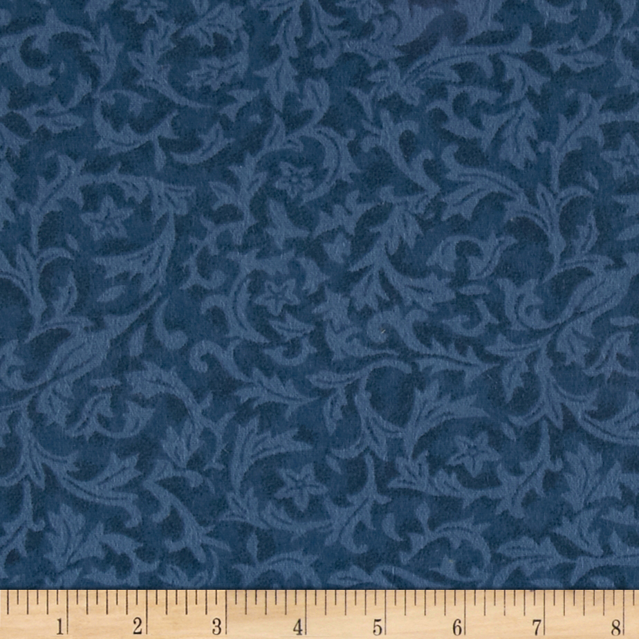 110'' Wide Quilt Back Flannel Leaf Denim Fabric by Westrade in USA