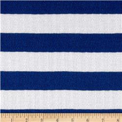 Pointelle Stripe Jersey Knit White/Navy