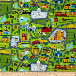Timeless Treasures Kiddie Street Map Lime