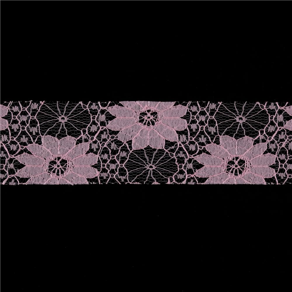 1 1/2'' Floral Lace Ribbon Pink