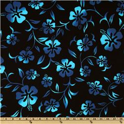 Hoffman Tropical Collection Large Hibiscus Black/Turquoise