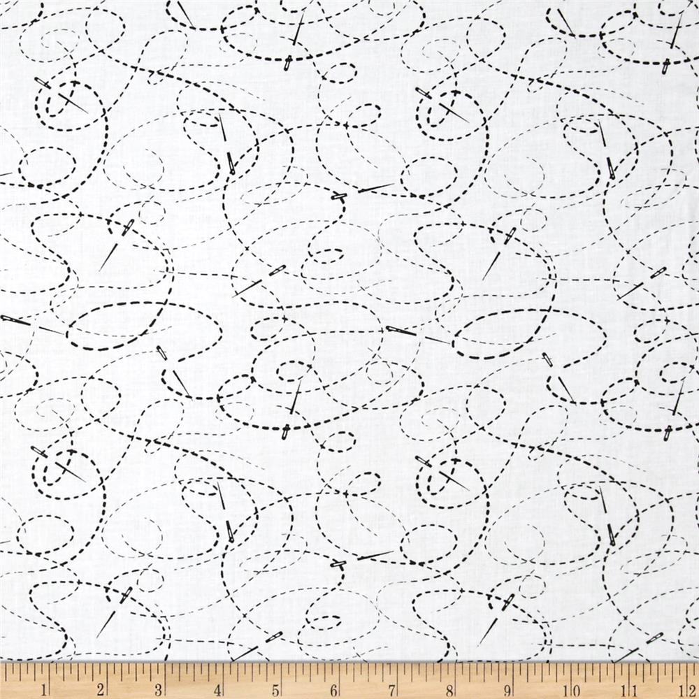 """108"""" Wide Quilt Back Needle And Thread White/Black"""