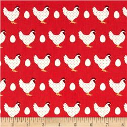 Lilas Kitchen Hens Red