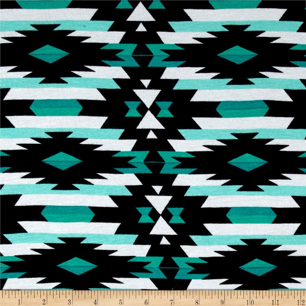 Jersey Knit Aztec Aqua Black White
