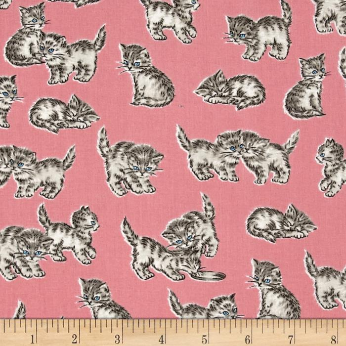 Kaufman Whiskers & Tails Kitty Cats Blush