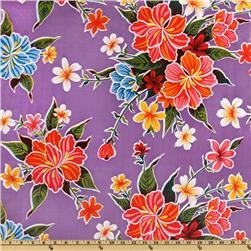 Oil Cloth Hibiscus Purple Fabric
