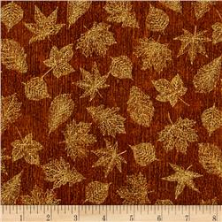 Robert Kaufman Shades of the Season Metallic Small Leaves Gold