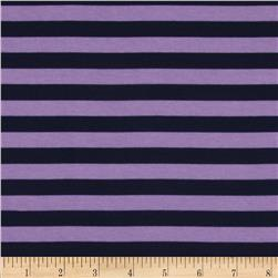 "Riley Blake Jersey Knit 1/2"" Stripes Navy/Purple"