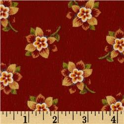 Bonsoir Flannel Small Floral Red