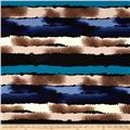 Telio Brazil Stretch ITY Jersey Knit Abstract Stripe Blue