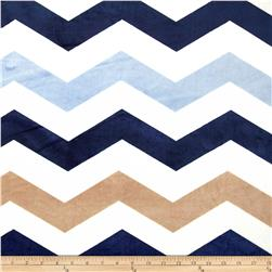 Minky 1 3/4'' Chevron Navy/Light Blue Fabric
