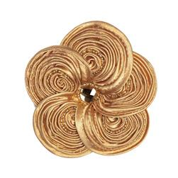Victoria 3-1/2'' Silky Ribbon Brooch Gold
