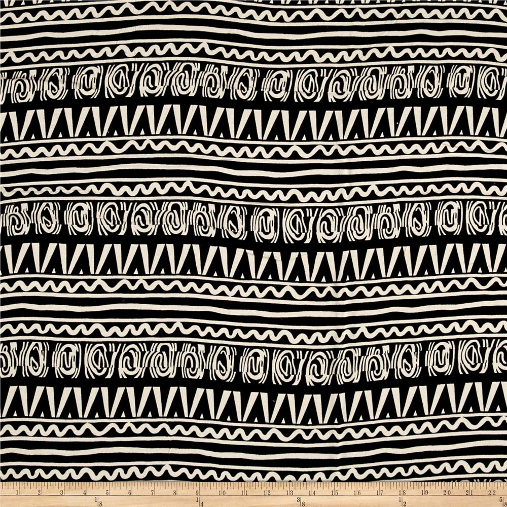 Rayon Challis White Aztec on Black