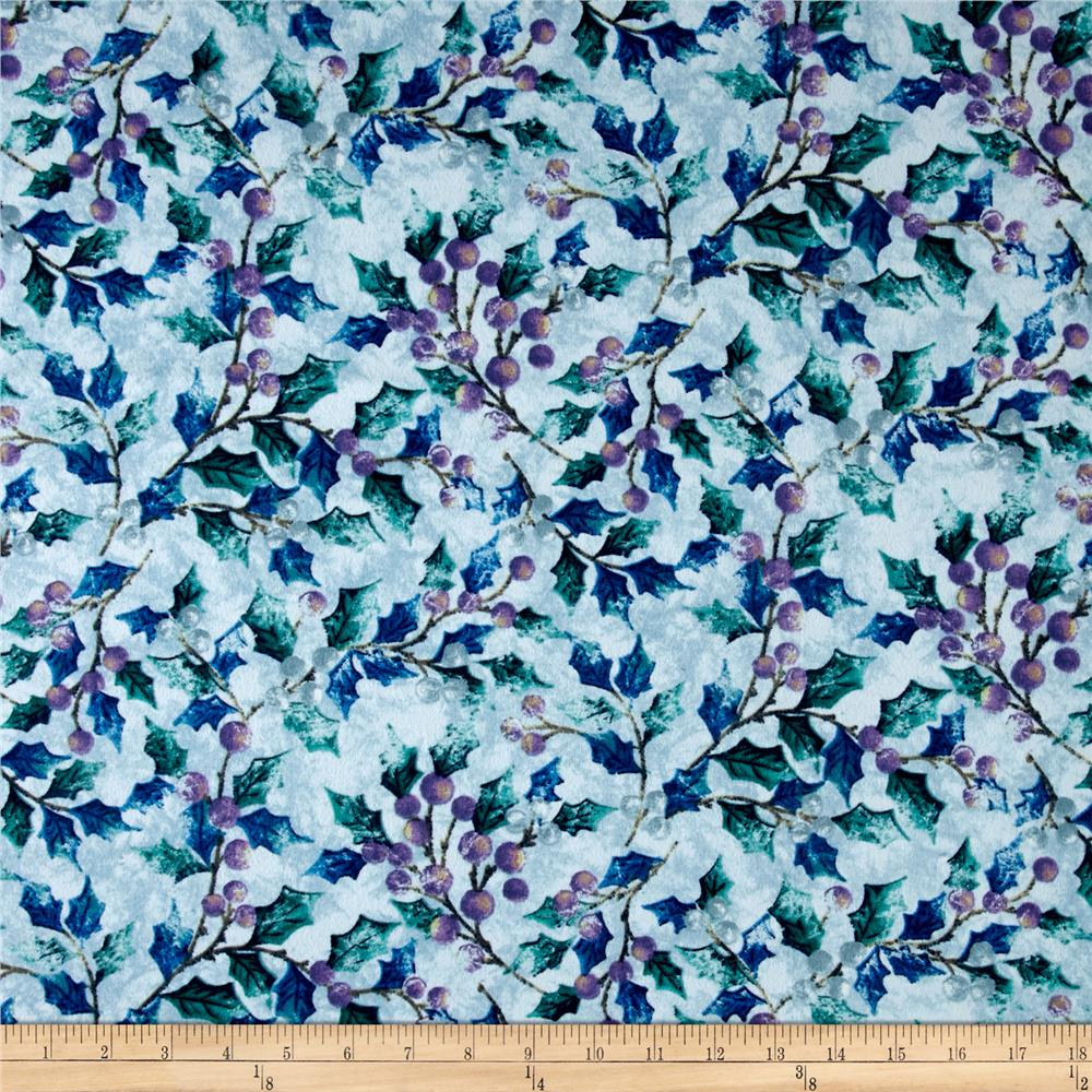 Winter Wonderland Flannel Berry Branches Blue