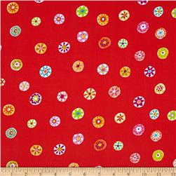 Michael Miller Melodies Folk Floral Dot Poppy