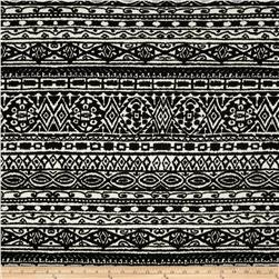Spandex ITY Jersey Knit Abstract Symbols Black/White Fabric