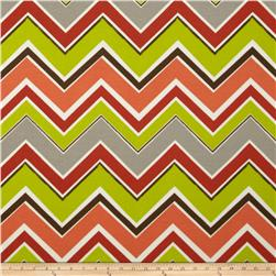 Tempo Indoor/Outdoor Multi Chevron Coral/Green/Grey Fabric
