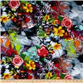 Rayon Digital Challis Graffiti Art Floral Multi