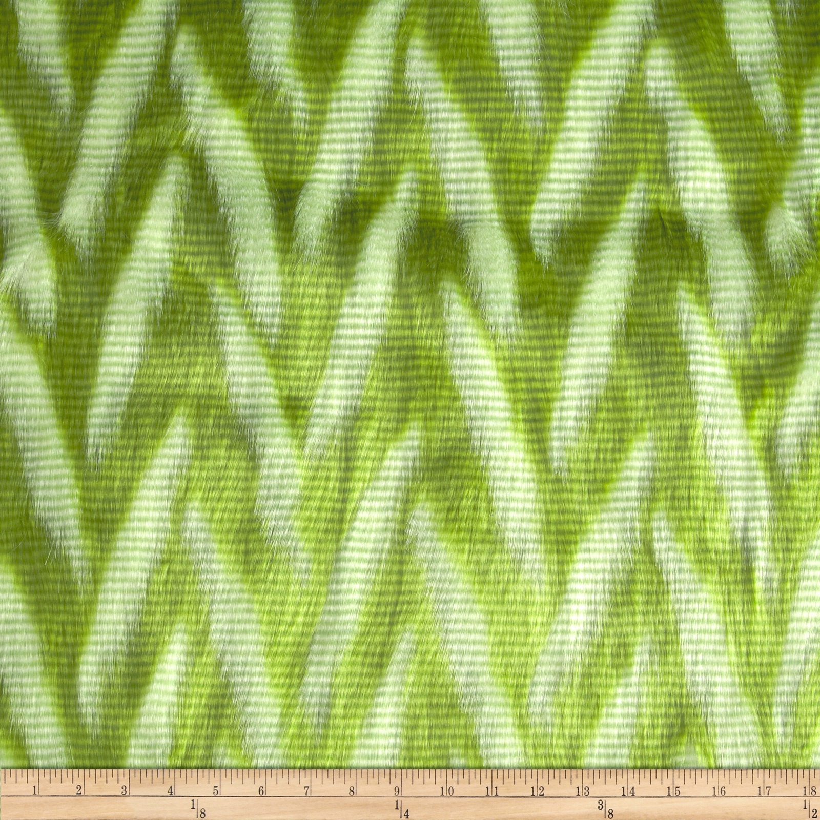Luxury Faux Fur Zig Zag Lime/White Fabric