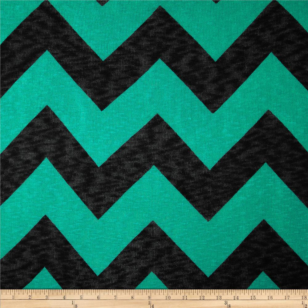 Open Weave Sweater Knit Chevron Teal Green/Black