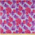 Double Brushed Poly Jersey Knit Rose Garden Purple/Pink