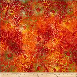 Timeless Treasures Tonga Batik Sunburst Gerber Daisy Tomato