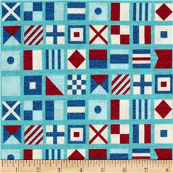 Ships Ahoy Nautical Flags Azure Fabric