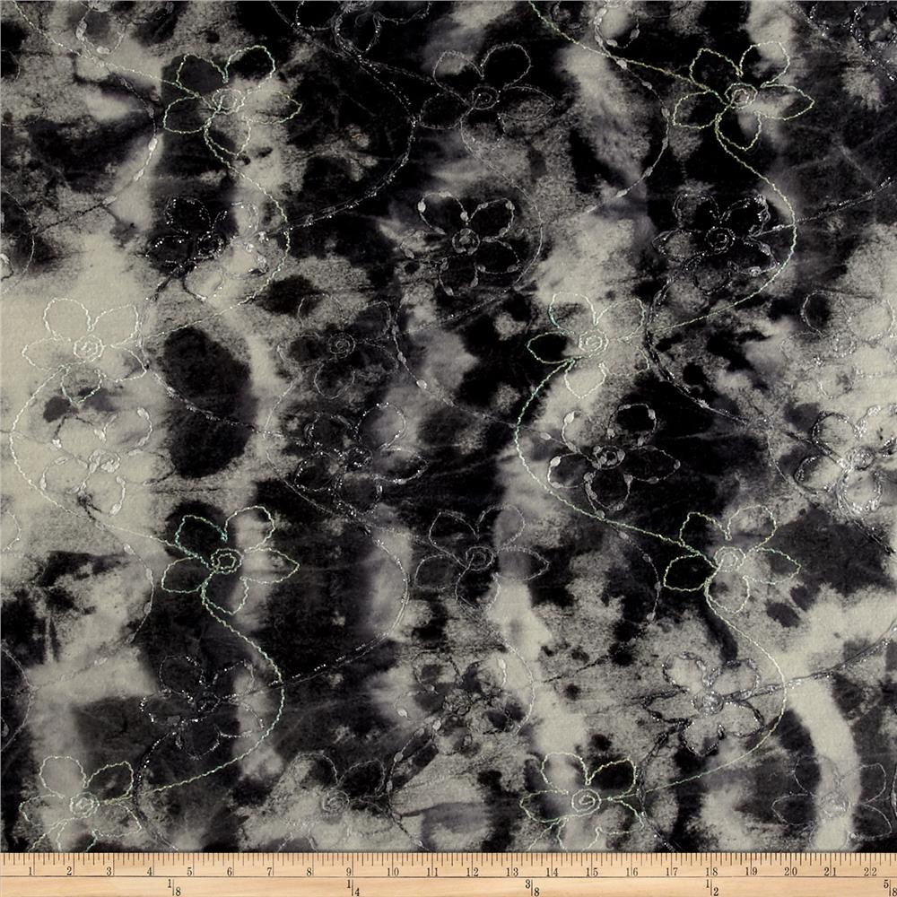 Italian Designer Marble Print Embroidered Boiled Wool Grey