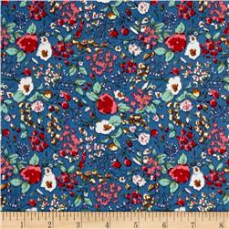 Telio Hampton Court Cotton Shirting Floral Print Blue