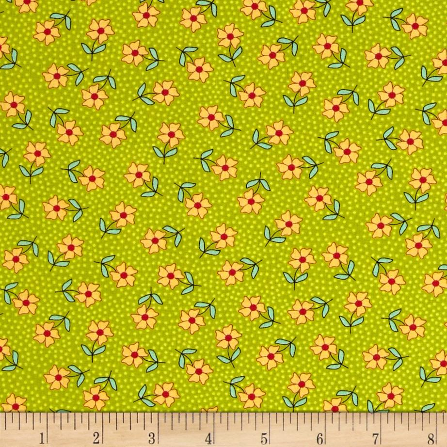 Moda The Sweet Life Prints Dainty Daisy Sappy Green