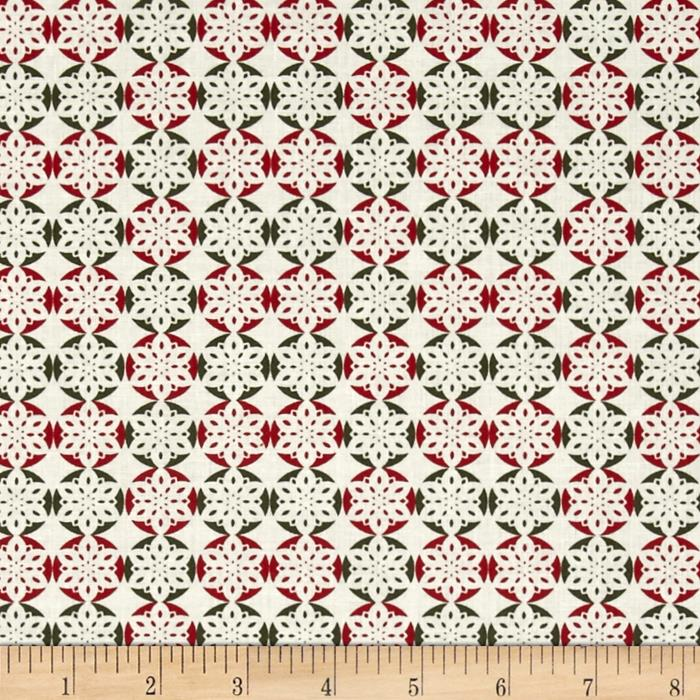 Fabric Freedom Christmas Character Snowflakes Red