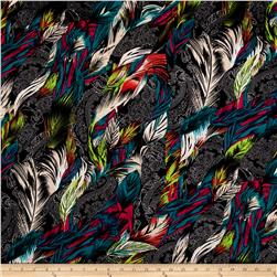 Polyester Jersey Knit Peacocks Feathers Multi