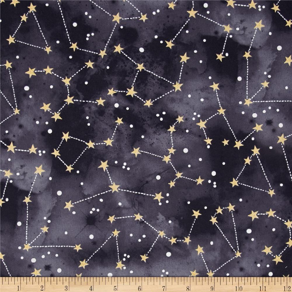 Michael miller moon stars constellation graphite for Moon and stars fabric