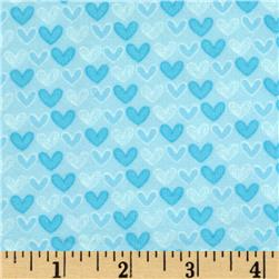 Welcome Baby Flannel Mini Hearts Blue